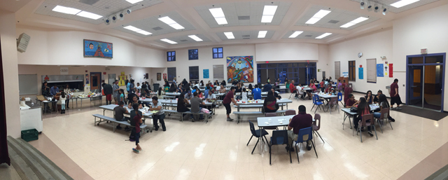 Dinner with our community families during Open House